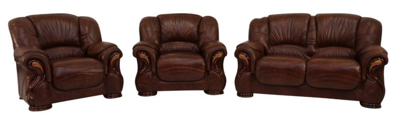 Susanna 2+1+1 Italian Leather Sofa Suite Tabak Brown Offer