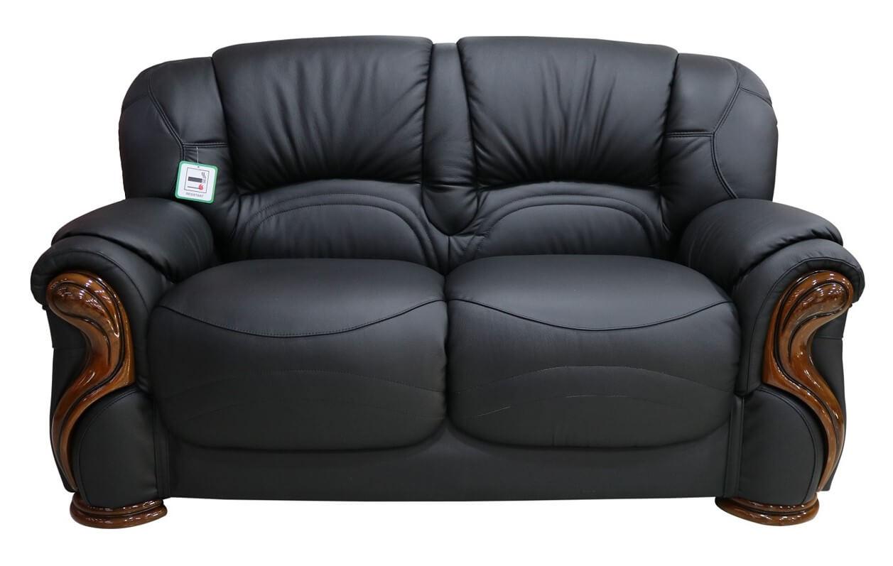 Terrific Susanna Italian Leather 2 Seater Sofa Settee Black Offer Theyellowbook Wood Chair Design Ideas Theyellowbookinfo