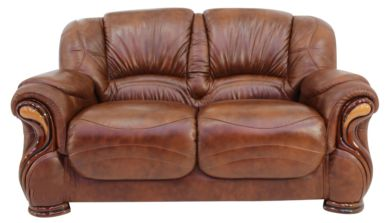 Susanna Italian Leather 2 Seater Sofa Settee Tabak Brown Offer