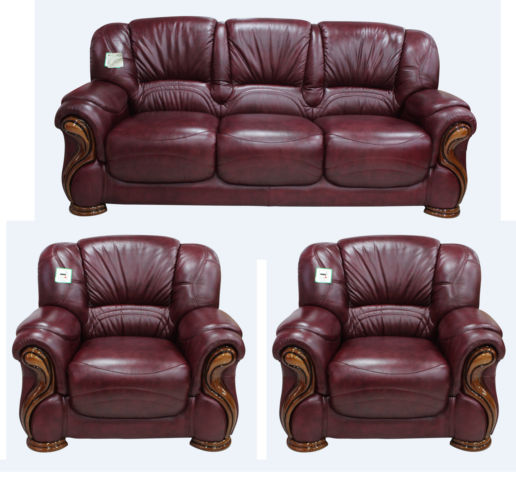 Susanna 3+1+1 Italian Leather Sofa Suite Burgandy Offer