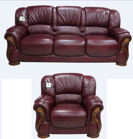 Susanna 3+1 Italian Leather Sofa Suite Burgandy Offer