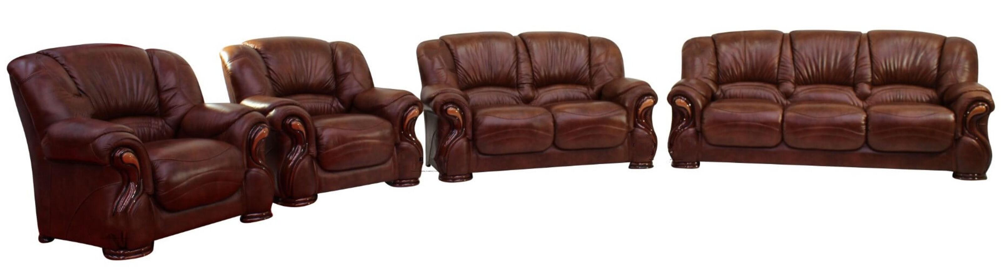 Susanna 3 2 1 1 Italian Leather Sofa Suite Tabak Brown Offer