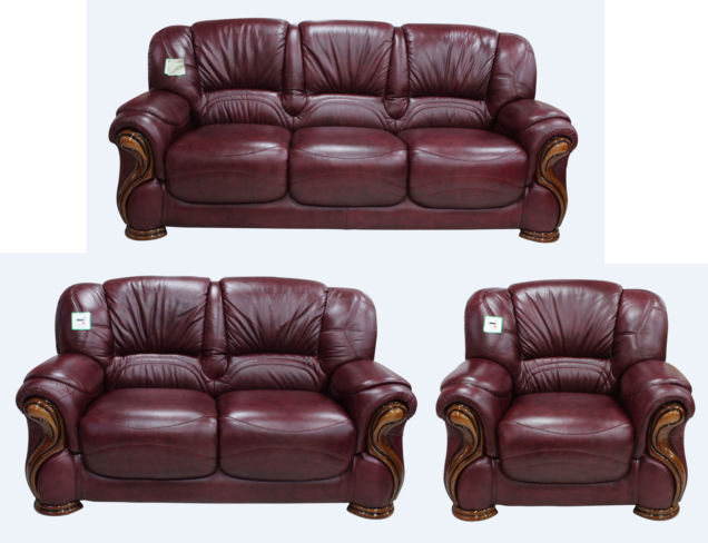 Susanna 3+2+1 Italian Leather Sofa Suite Burgandy Offer