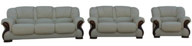 Susanna 3+2+1 Italian Leather Sofa Suite Cream Offer