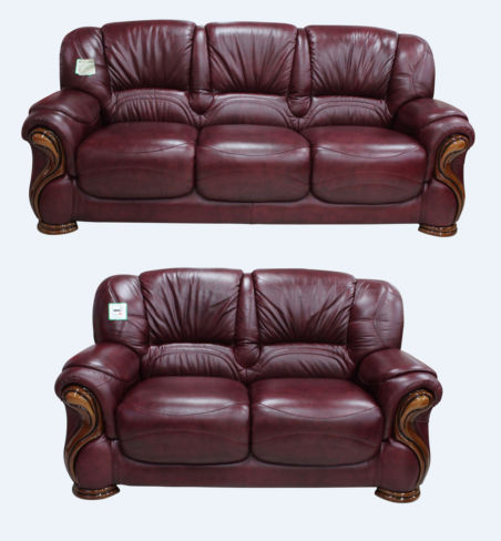 Susanna 3+2 Italian Leather Sofa Suite Burgandy Offer