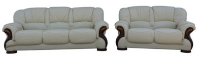 Susanna 3+2 Italian Leather Sofa Suite Cream Offer