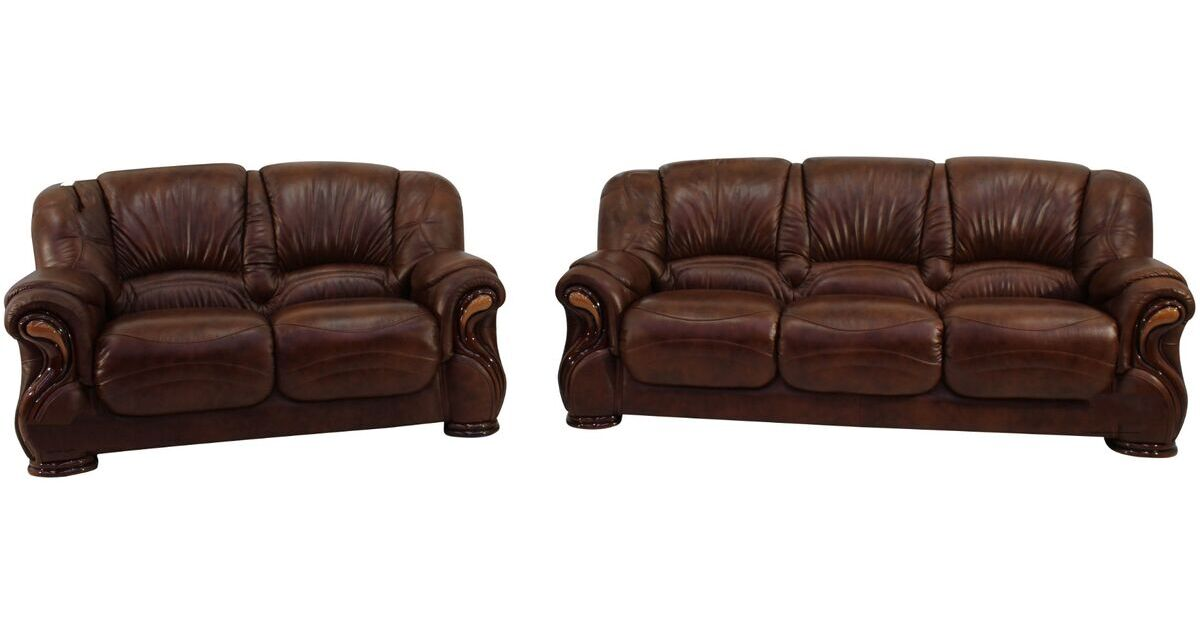 Susanna 3 2 italian leather sofa suite tabak brown offer leather sofas fabric sofas Italian leather sofa uk