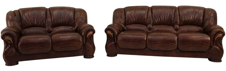 Susanna 3+2 Italian Leather Sofa Suite Tabak Brown Offer