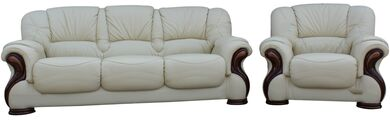 Susanna 3+1 Italian Leather Sofa Suite Cream Offer