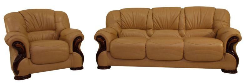 Susanna 3+1 Italian Leather Sofa Suite Nut Offer