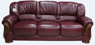 Susanna Italian Leather 3 Seater Sofa Settee Burgandy Offer