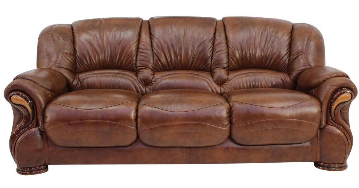 Susanna Italian Leather 3 Seater Sofa Settee Tabak Brown