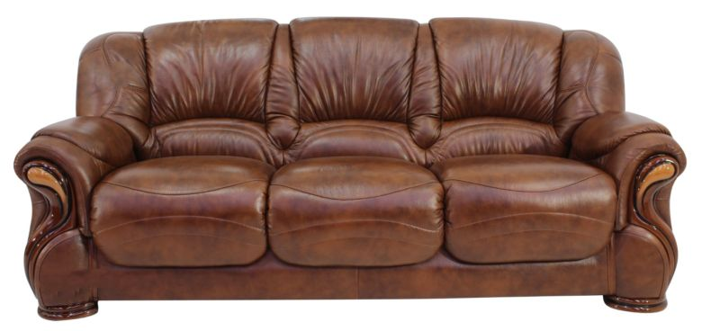 Susanna Italian Leather 3 Seater Sofa Settee Tabak Brown Offer
