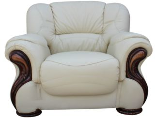 Susanna Italian Leather Armchair Cream Offer