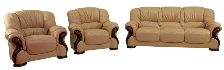 Susanna 3+1+1 Italian Leather Sofa Suite Nut Offer