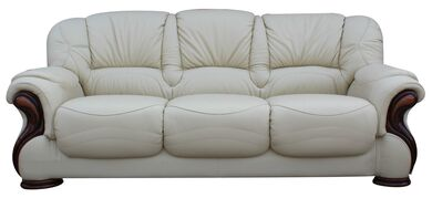 Susanna Italian Leather 3 Seater Sofa Settee Cream Offer