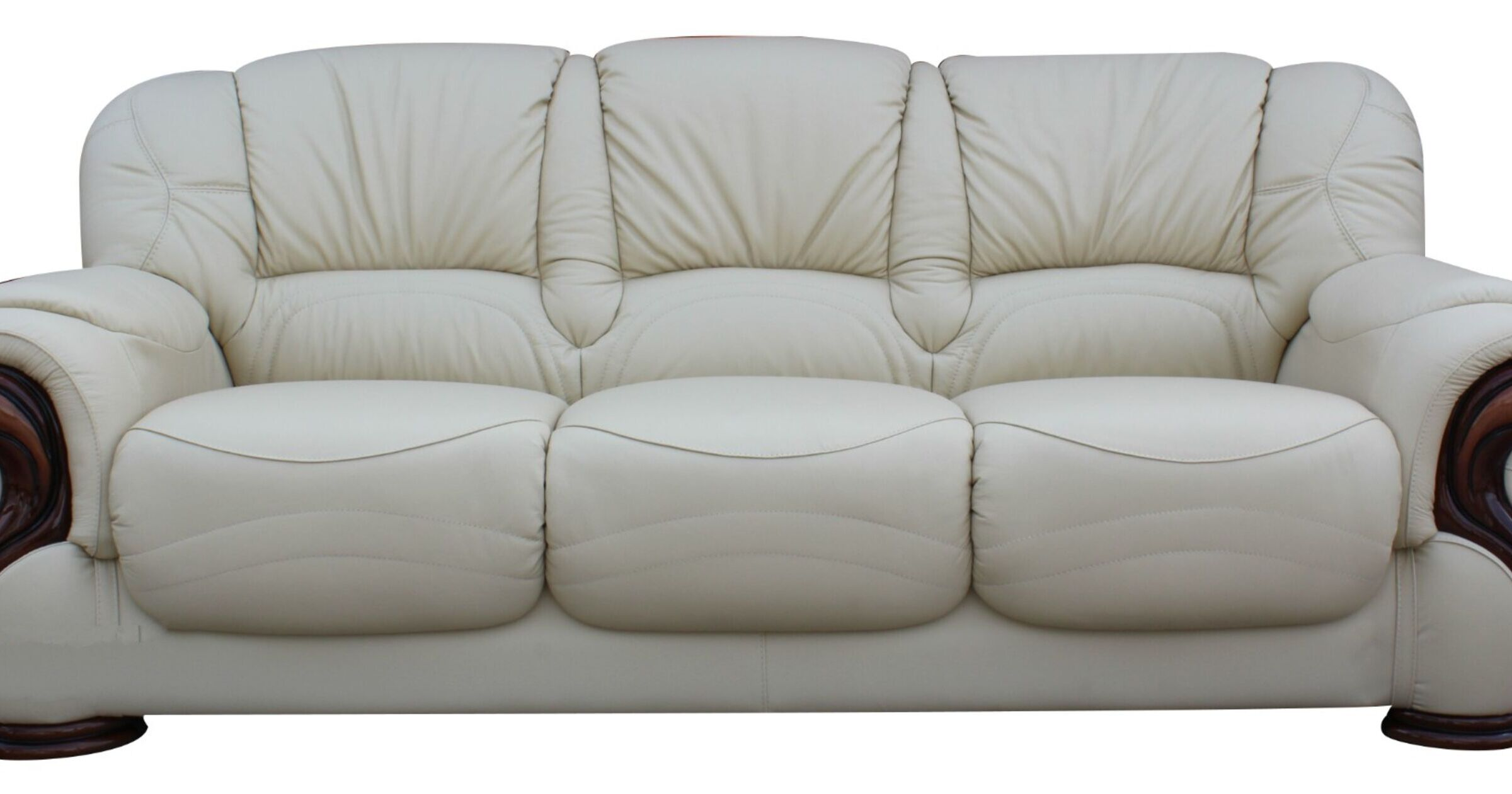 Susanna Italian Leather 3 Seater Sofa Settee Cream Offer