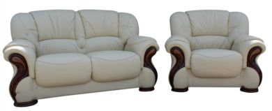 Susanna 2+1 Italian Leather Sofa Suite Cream Offer