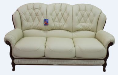 Venice Genuine Italian Leather 3 Seater Sofa Settee Cream