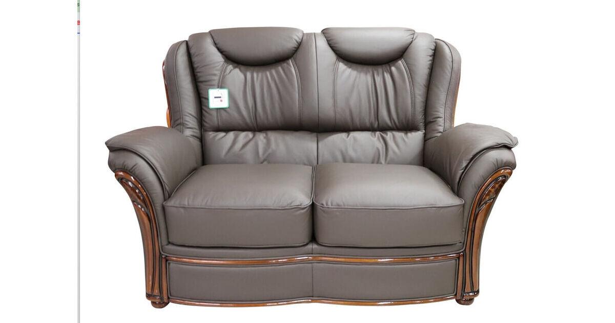 Verona 2 Seater Sofa Settee Genuine Italian Chocolate Brown Leather Offer Leather Sofas Fabric