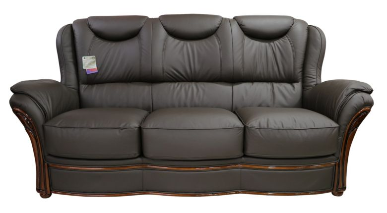 Verona 3 Seater Sofa Settee Genuine Italian Chocolate Brown Leather Offer