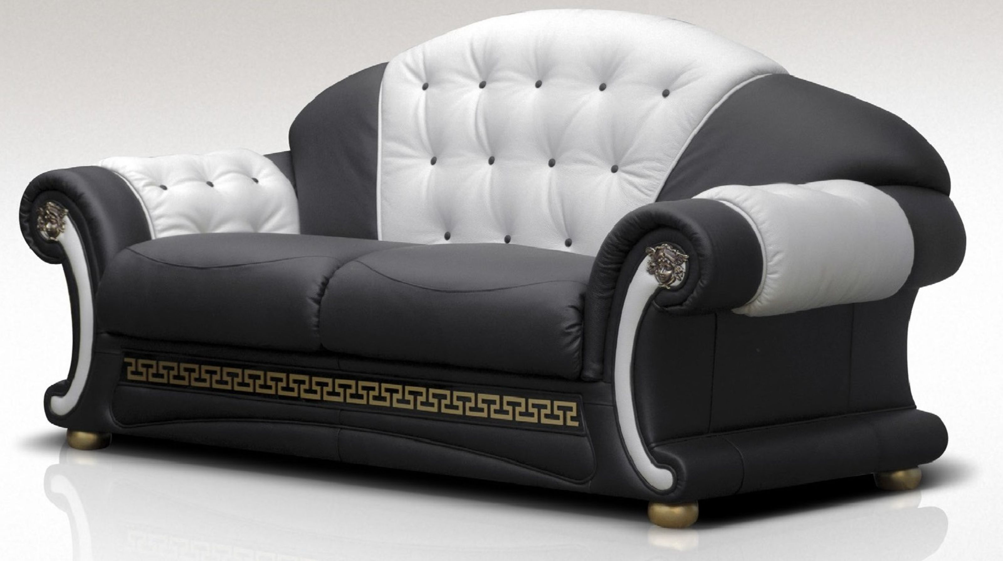 North Carolina 3 Seater Sofa Settee Genuine Italian Black White ...