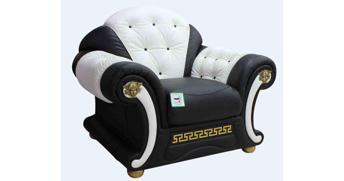 Versace Armchair Sofa Genuine Italian Black White Leather ...