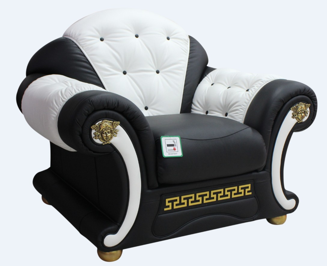 Versace Armchair Sofa Genuine Italian Black White Leather Offer