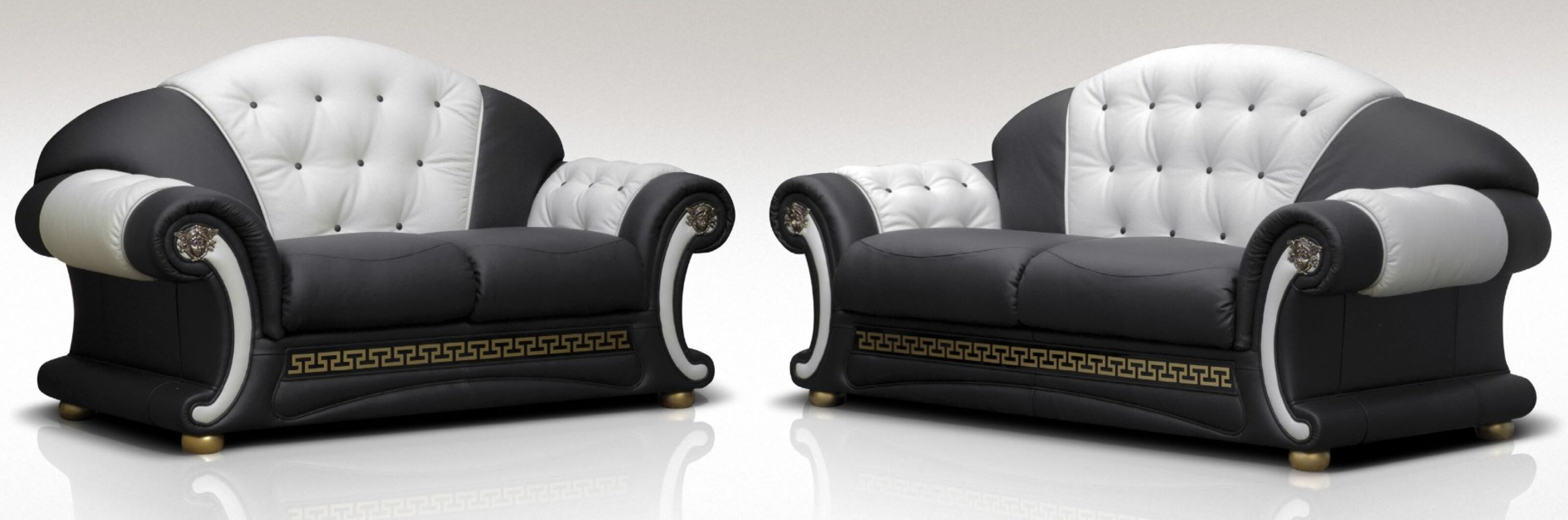 North Carolina 3 Seater + 2 Seater Genuine Italian Black White Leather Sofa  Suite Offer