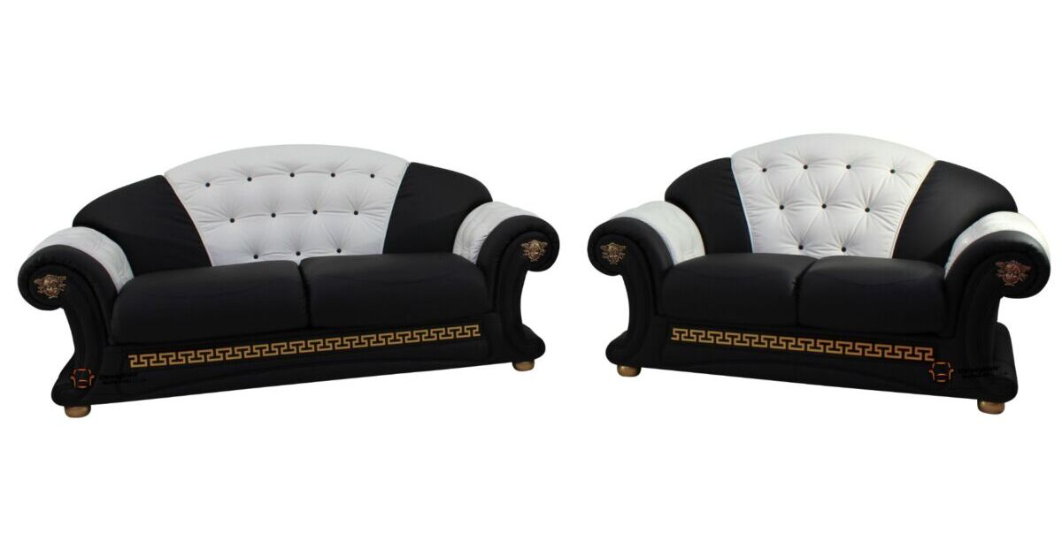 Versace 3 Seater 2 Seater Genuine Italian Black White Leather Sofa Suite Offer Leather Sofas Fabric Sofas