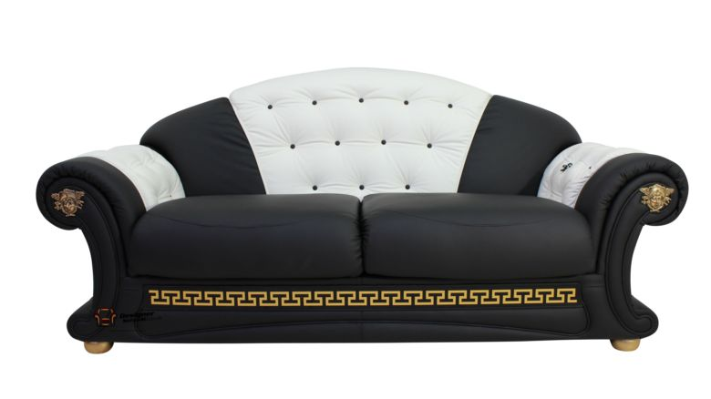 Versace 3 Seater Sofa Settee Genuine Italian Black White Leather Offer