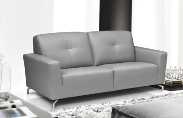 Vicenza Genuine Italian Leather 3 Seater Sofa Settee Light Grey