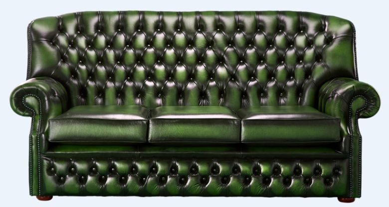 Chesterfield Monks 3 Seater Sofa Antique Green Leather