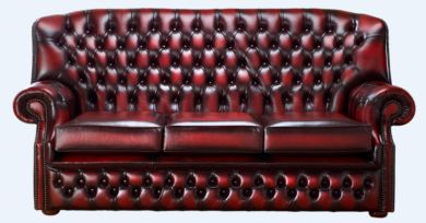 Chesterfield Monks 3 Seater Sofa Antique Oxblood Leather