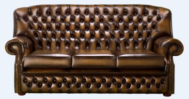 Chesterfield Monks 3 Seater Sofa Antique Tan Leather