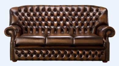 Chesterfield Monks 3 Seater Sofa Antique Autumn Tan Leather