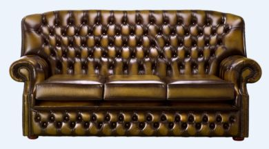 Chesterfield Fixed Back Monks 3 Seater Sofa Antique Gold Leather