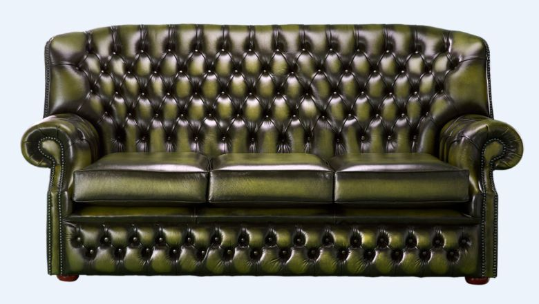 Chesterfield Monks 3 Seater Sofa Antique Olive Green Leather