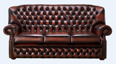 Chesterfield Monks 3 Seater Sofa Antique Rust Leather