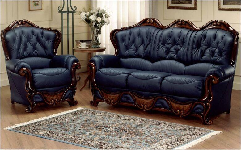 Dante 3 Seater + Armchair Italian Leather Sofa Settee Offer Blue