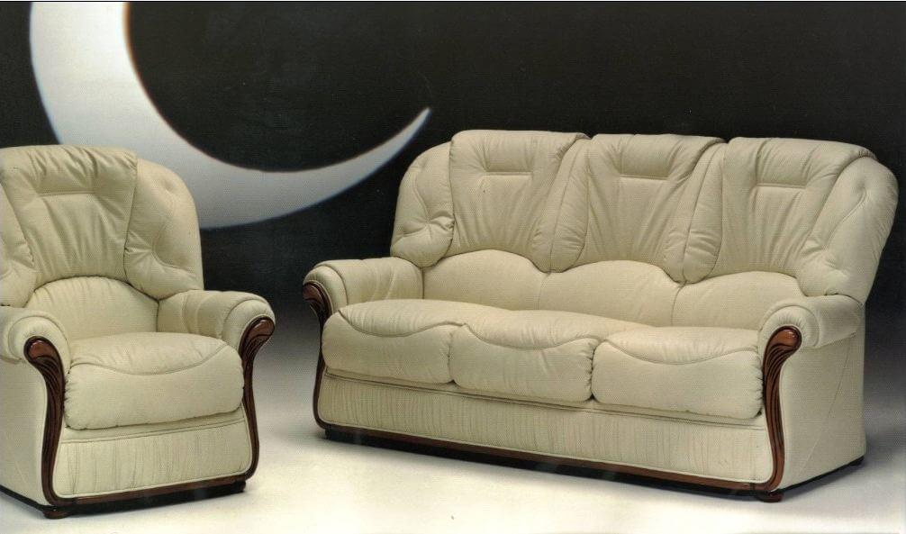 Debora Genuine Italian Leather Sofa Settee Suite