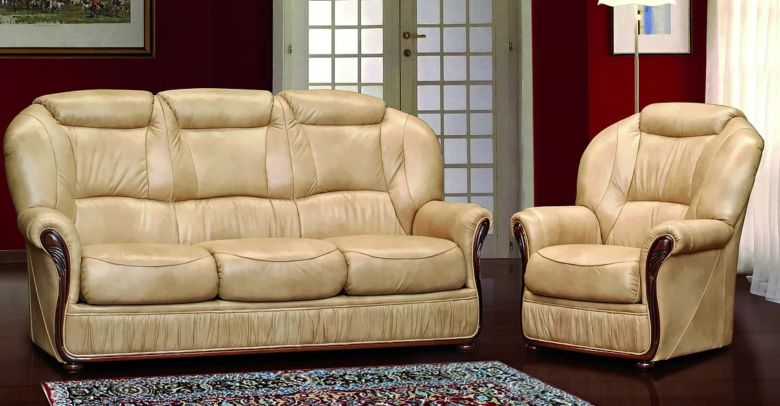 Ravenna 3 Seater + Armchair Italian Leather Sofa Settee Offer Nut