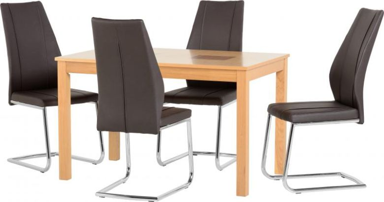 "Wexford 47"" Dining Set - A1 Chair in Oak Veneer/Walnut Inlay/Brown PU/Chrome"
