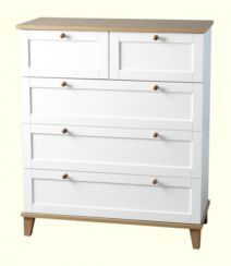 Arcadia 3+2 Drawer Chest in White/Ash Veneer