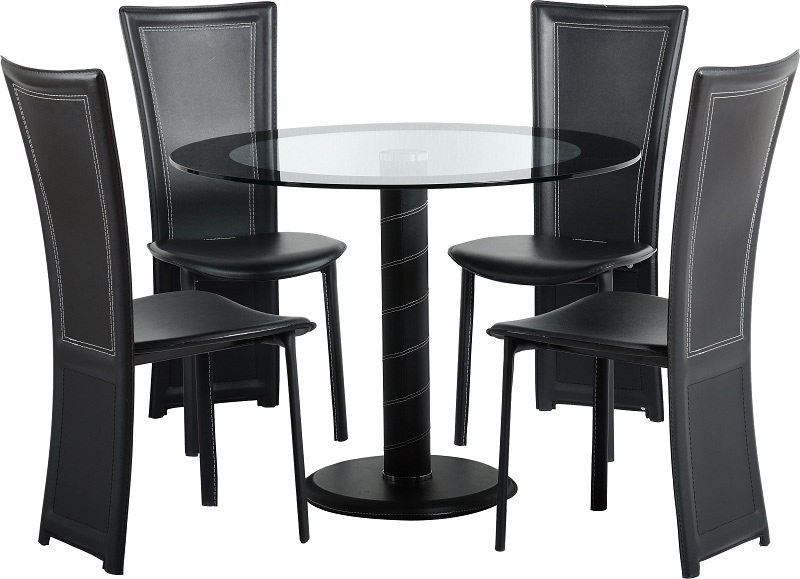 Cameo Round Dining Set in Clear Glass/Black Border/Black/Black PVC