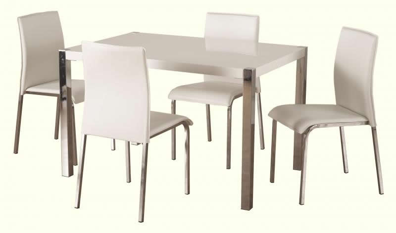 d285c26e17 Charisma 4' Dining Set in White Gloss/Chrome/White PVC