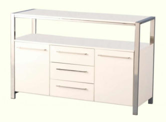Charisma 2 Door 3 Drawer Sideboard in White Gloss/Chrome