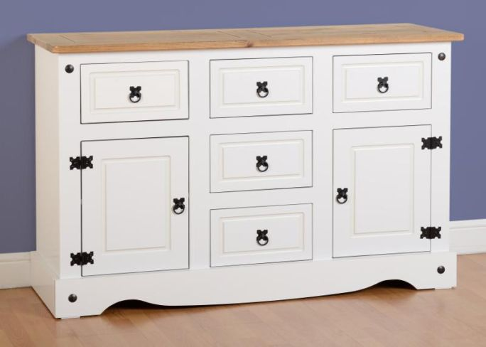 Corona 2 Door 5 Drawer Sideboard in White/Distressed Waxed Pine