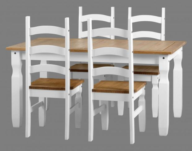 Corona 5' Dining Set in White/Distressed Waxed Pine