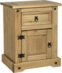 Corona 1 Drawer 1 Door Bedside Cabinet in Distressed Waxed Pine